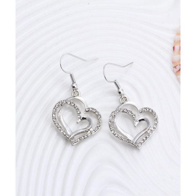 Heart Pattern Crystal Earrings Necklace Set - GO