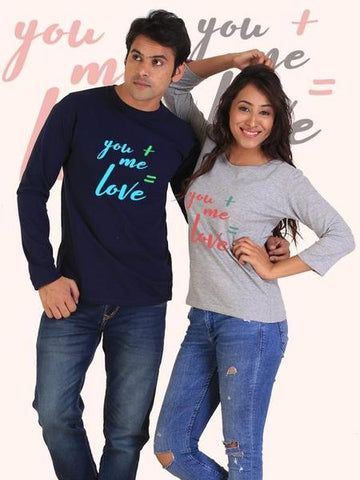 You + Me = Love Couple Full Sleeves Navy And Gray T-Shirts