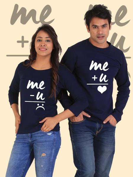 You + Me = Happiness Couple Full Sleeves Navy T-Shirts