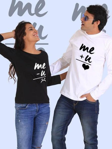 You + Me = Happiness Couple Full Sleeves Black & White T- Shirts