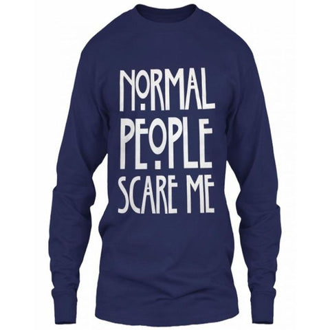 Navy Blue Cotton Normal People Scare Me Full Sleeves T-Shirt for Women