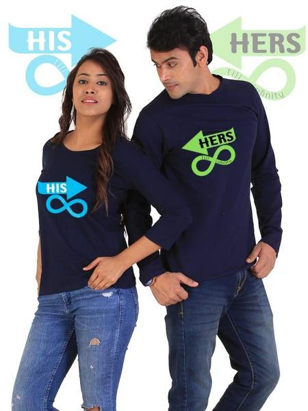 Till Infinity Couple Full Sleeves T-Shirts
