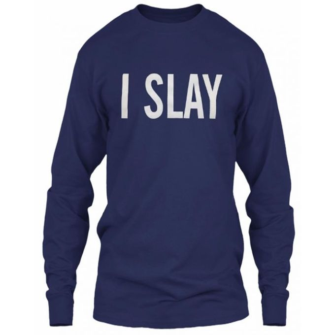 Navy Blue I SLAY Cotton Full Sleeves T-Shirt for Women