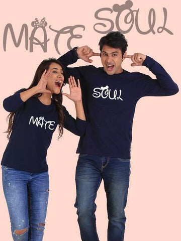 Soulmate Couple Full Sleeves Navy T-Shirts