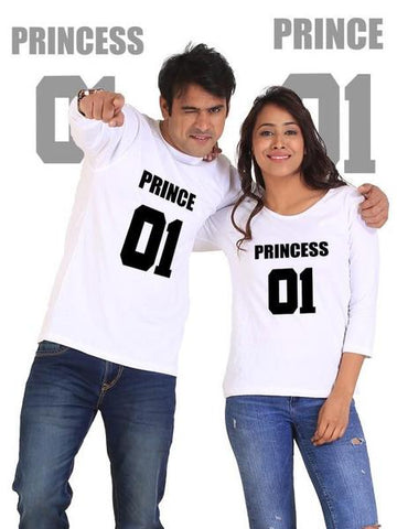 Prince And Princess Couple Full Sleeves White T-Shirts