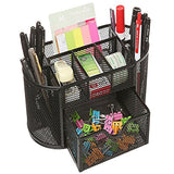 Desk Organizer, Pen Stand/Holder, Mesh Metal Holder - Black