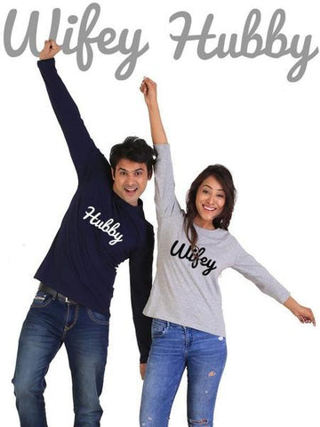 Hubby Wifey Couple Full Sleeves Gray And Navy T-Shirts