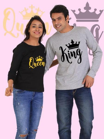 King And Queen Couple Full Sleeves T-Shirts