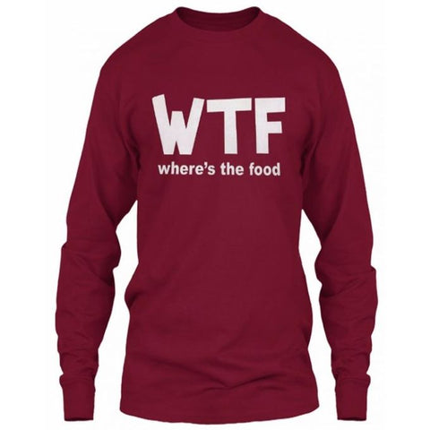 Maroon Where The Food Cotton Full Sleeves T-Shirt for Women