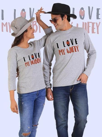 Love My Hubby, Love My Wifey Couple Full Sleeves Gray T-Shirts