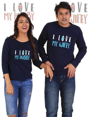 Love My Hubby, Love My Wifey Couple Full Sleeves Navy T-Shirts
