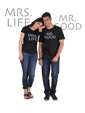 Mr Good And Mrs Life Classic Couple T-Shirt Black