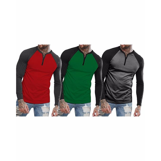 Pack of 3 Full Sleeves Multicolor Cotton T-Shirts for Men