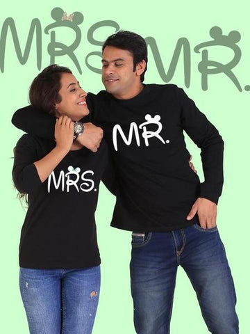 Mr. And Mrs. Couple Full Sleeves Black T- Shirts