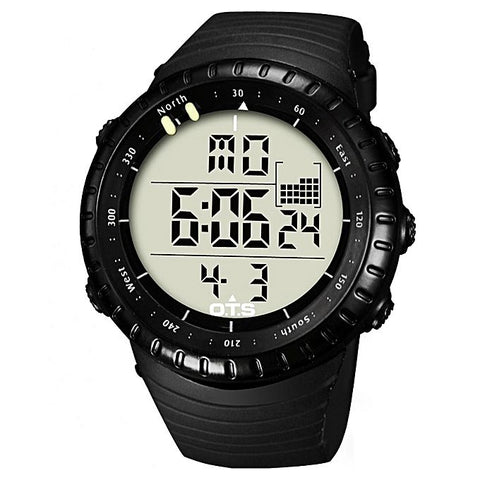 Black Rubber Strap Digital Watch - Black