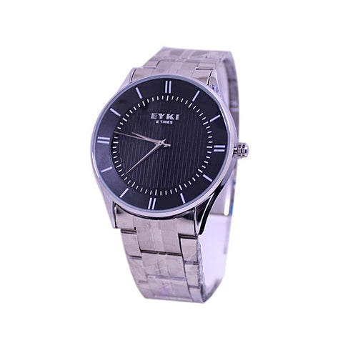 Black Dial Silver Chain Watch For Men - Silver