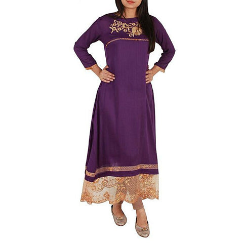 FC Purple Linen Embroidered Tunic for Women