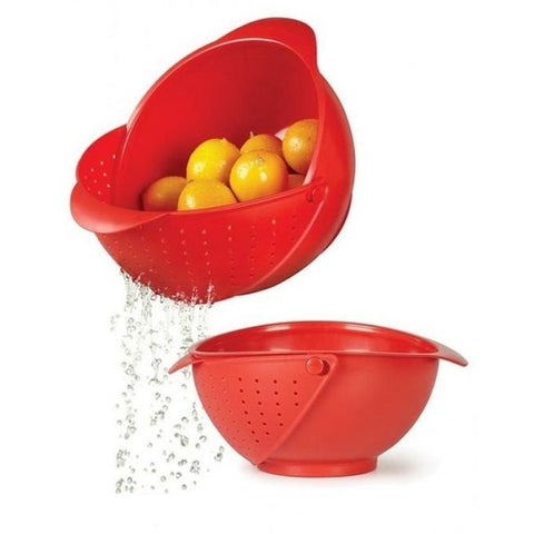 2 in 1 Wash Rice Sieve Vegetable Basin Fruit Bowl Fruit Basket Kitchen