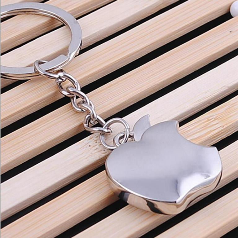 Silver - Apple Key Chain Metal