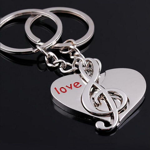 Heart Musical Note key chain