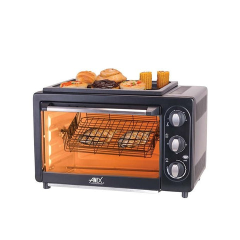 Anex AG-3069TT - Oven Toaster For Convection B.B.Q Grill, Rotissrie And Fish Grill - Black