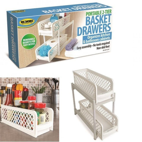 Portable 2 – Tier Basket Drawer