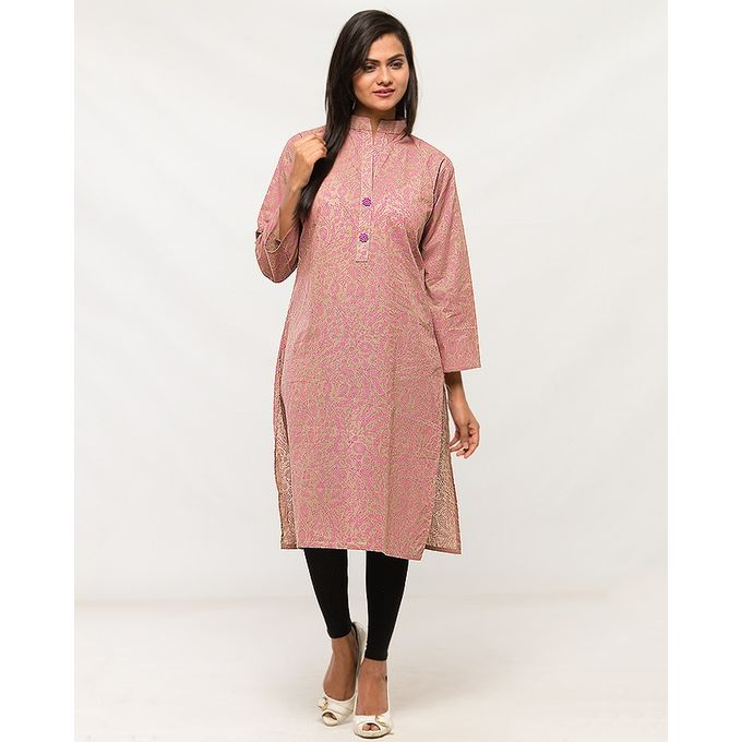 NS Beige Cotton Printed kurta For Women