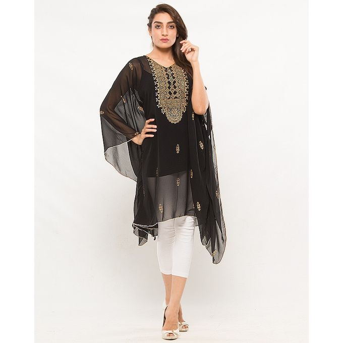 NS Black Chiffon Arabic Printed Poncho For Women
