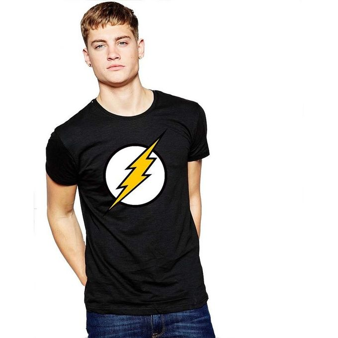 Black Flash Logo Cotton T-Shirt for Men