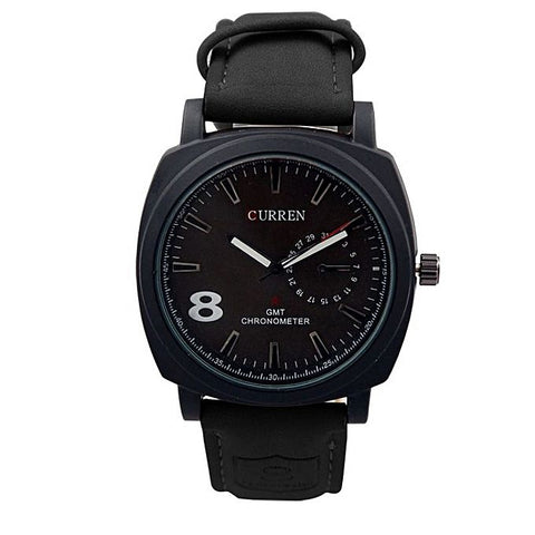 Black Leather Analog Wrist Watch For Men