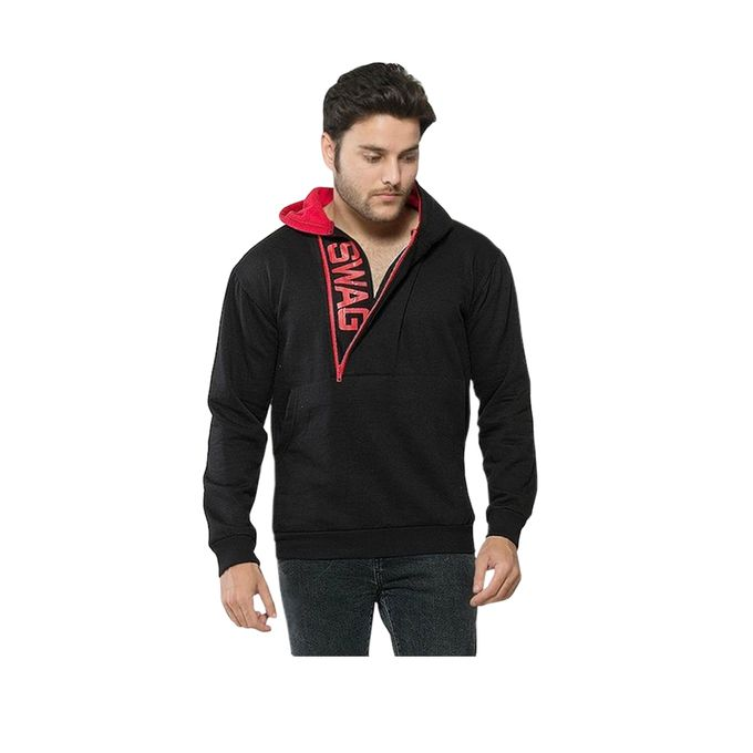 Black & Red Fleece Hoodie for Men - ABZ-1019