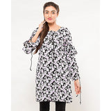 FC Black & White Linen Printed Kurta for Women