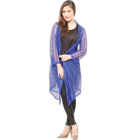 Blue Single Net Shrug For Women