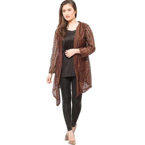 Brown Single Net Shrug For Women