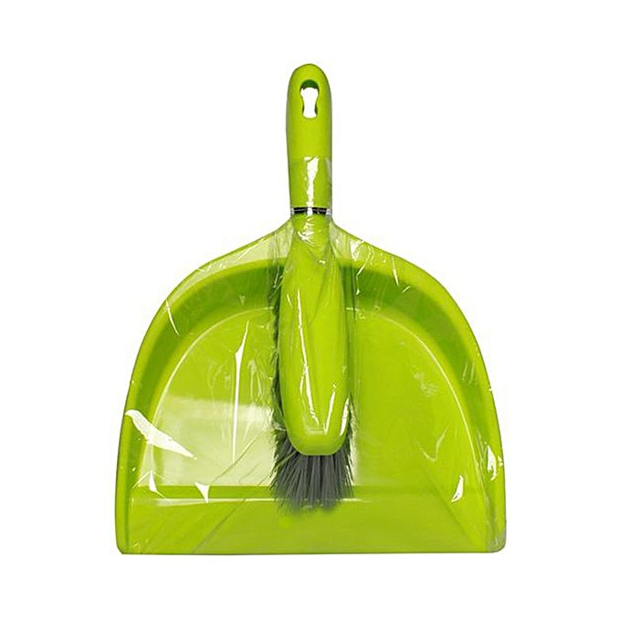 Brush with Dustpan Set Plastic - Green