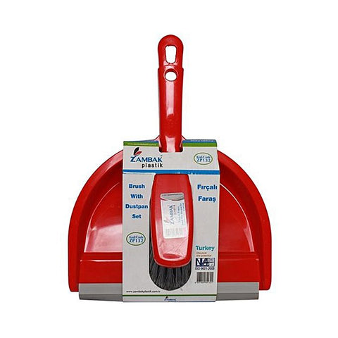 Brush with Dustpan Set Plastic - Red