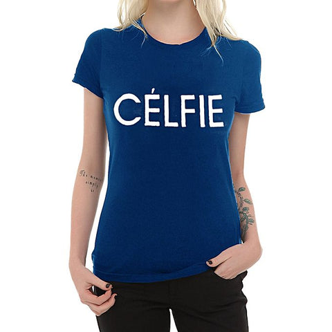 Celfie Print Half Sleeves T-Shirt for Women