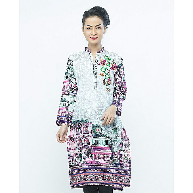 FC Digital Printed Front Embroidered Purple Kurta for Women