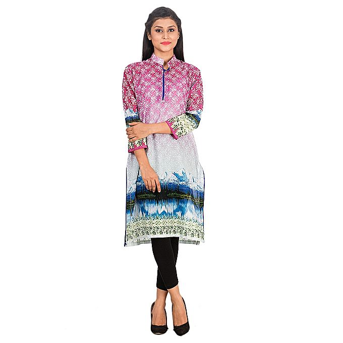 FC Digital Printed Pink Lawn Kurta for Women