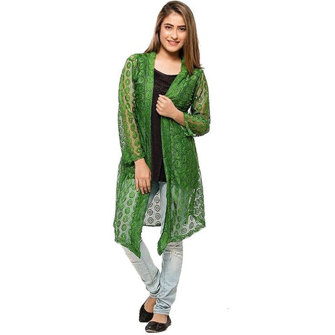 Green Single Net Shrug For Women