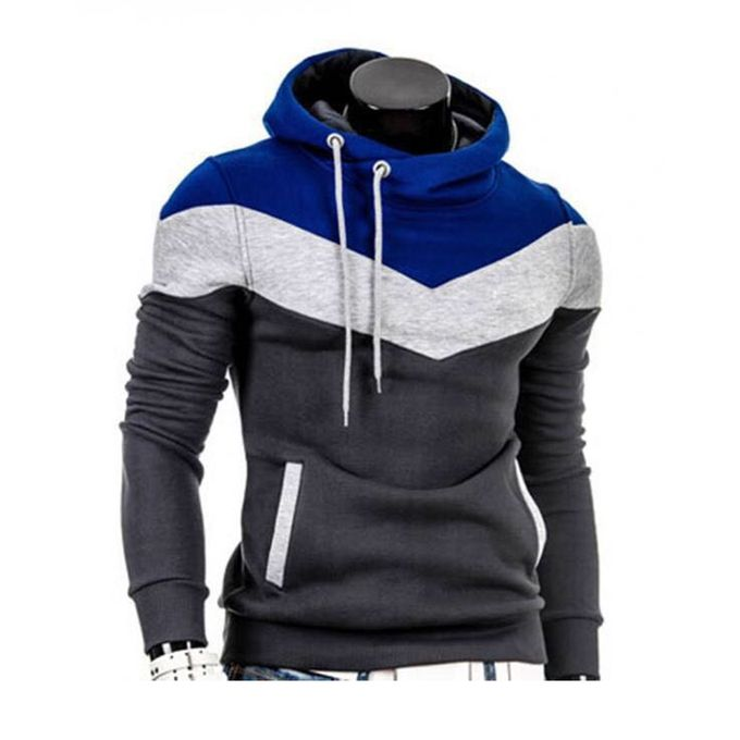 Grey & Blue Fleece Hoodie for Men