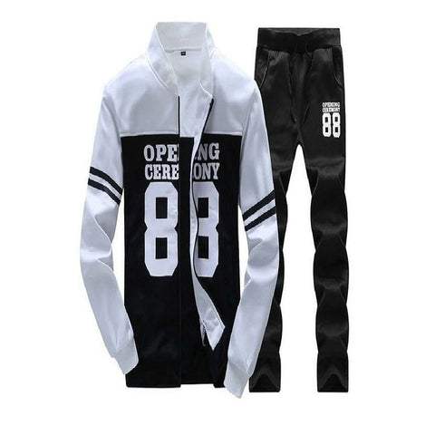 White & Black Fleece Track Suit for Men
