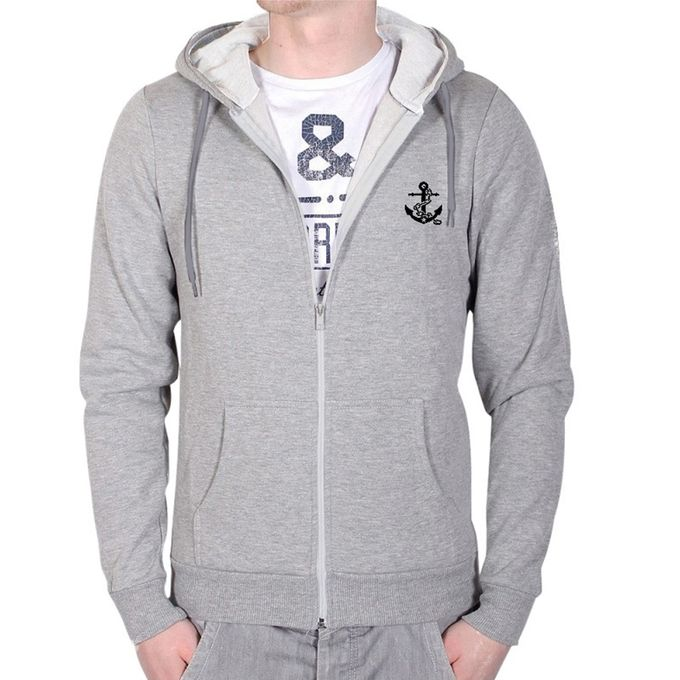 Gray Cotton Hoodie For Men