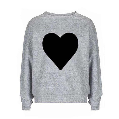 Grey Heart Printed Sweat shirt for women