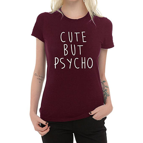 Maroon Cute Psycho Half Sleeves Cotton T-Shirt for Women