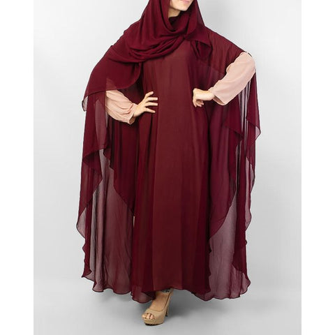 Maroon Front Close Abaya With Dupatta for Women