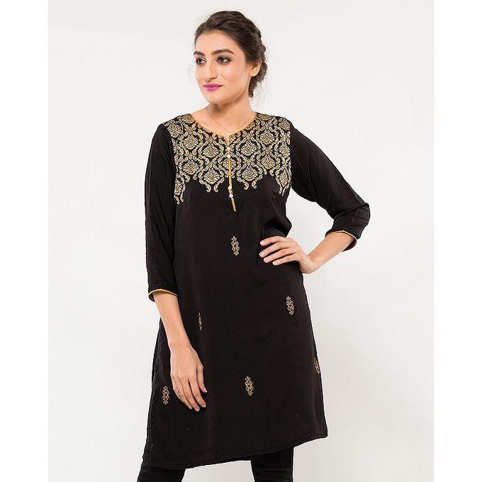 NS Black Printed Crepe Silk Kurta For Women