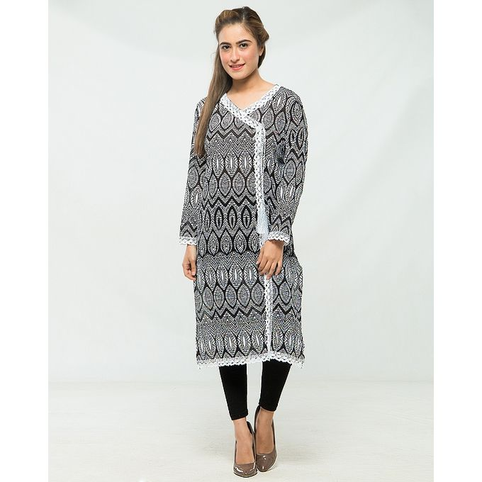 NS Black Printed Lawn Lace Embellished Angarkha For Women