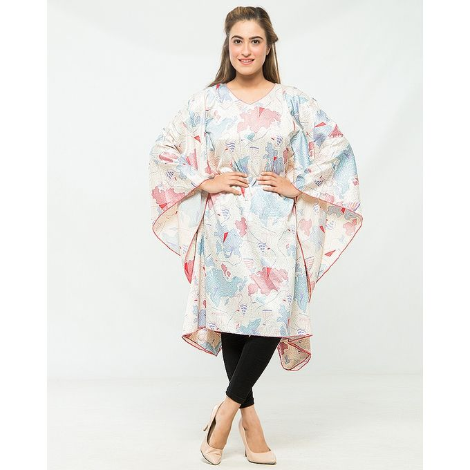 NS Multicolour Printed Silk Poncho for Women
