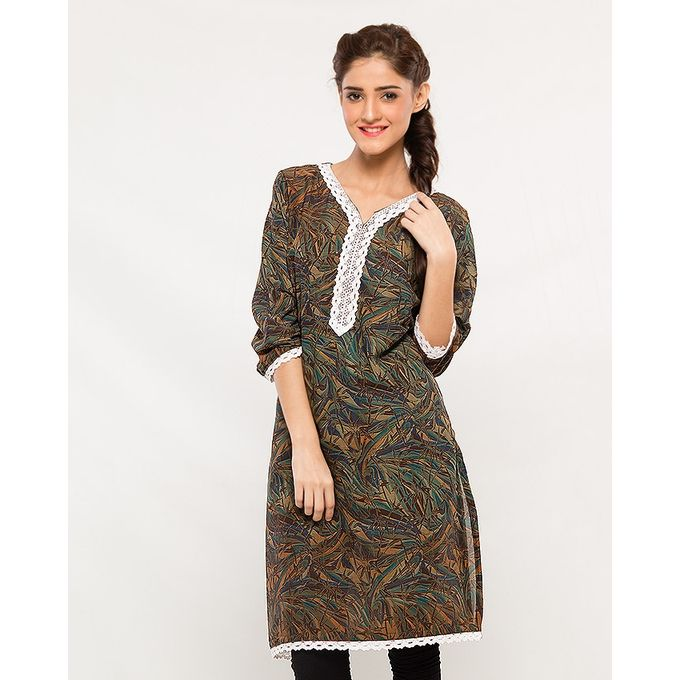 NS Multicolour Renial Printed Lace Embellished Kurti For Women